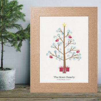 Christmas Fingerprint Tree - Personalised Christmas Keepsake Gift For Grandparents